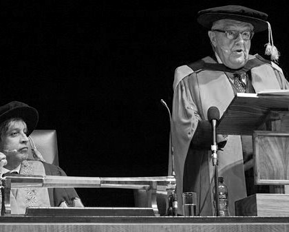 Raymond Louw receiving honorary Doctorate from Wits University.