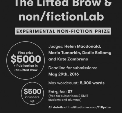 Call for Entries: The Lifted Brow & RMIT non/fictionLab Prize for Experimental Non-Fiction