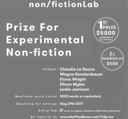 Enter The Lifted Brow & RMIT non/fictionLab Prize for Experimental Non-fiction