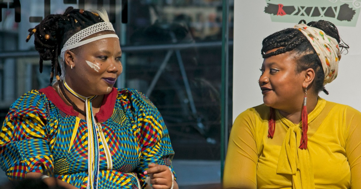 Vangile Gantsho in conversation with Danai Mupotsa at the launch of their books by Impepho Press in Braamfontein last year. Photo: Boipelo Khunou